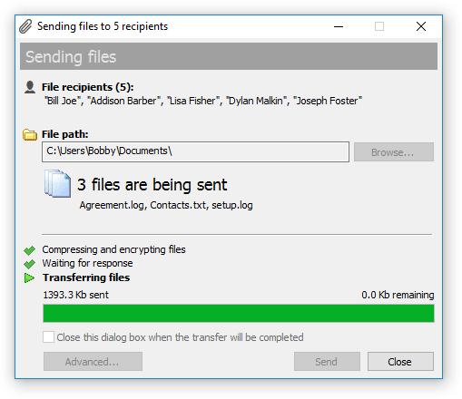 File Transfer dialog in Bopup Messenger